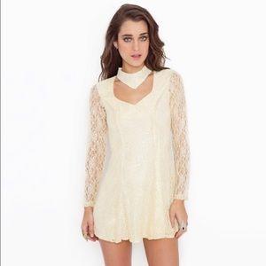 UNIF Lace Cream Chocker Long Sleeve Dress